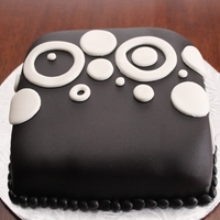 "Retro 6"" square cake with circle cut outs"