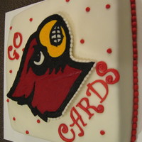University Of Louisville Cake  Made another cake that we used the FBCT Cardinal Head on and made a back-up of the head... Decided to not let it go to waste and put it on...