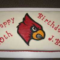 Uofl Cardinal Birthday Cake   Birthday cake for a UofL Cardinal fan. The head is a FBCT.