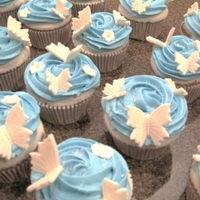 Butterfly Cupcakes  Butterfly cupcakes are chocolate mousse filled, dipped in cream cheese frosting then topped with buttercream icing. Butterflies on top are...
