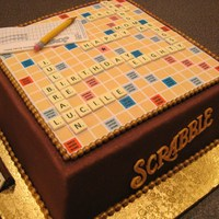 Scrabble Cake  Cake for my awesome mom! HUGE thank you to Kello here on CC who provided soooo much help and inspiration! Cake is German chocolate, filled...