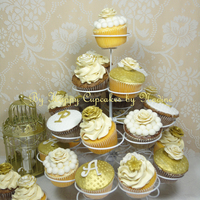 Cupcakes In Ivory, White And Gold