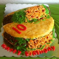 Taco Cake For a Birthday Fiesta! Lettuce is apple licorice, cheese is orange Starbursts, meat is tootsie rolls, and tomatoes are red licorice. Taco...