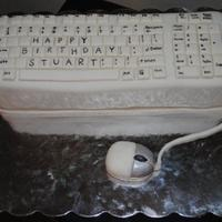 Computer Keyboard And Mouse Keyboard is cake covered in fondant. They keys are individual fondant cutouts - I wrote the letters on with edible marker. The mouse is...