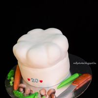 Chef Hat Cake Birthday Chef hat cake. Gumpaste knife, Mushroom, pea, pepper, carrot.