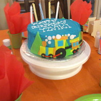 Train Birthday Cake   choo choo train birthday cake for my soni love the lettering. the buttercream was a bit messy though