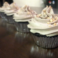 Cupcakes   chocolate cupcakes with mocha liquer buttercream topped with crushed nuts