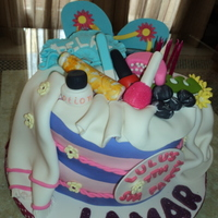 Spa Birthday Cake Made this spa cake for a friend's daughter... All the pieces are made from gumpaste and fondant. The pictures don't show the...