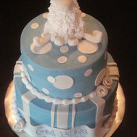 Baptism Cake   bc, fondant accents, RI lamb. Client gave me a picture from YOUnique_Cakes...I didn't do it justice, but it was fun! TFL!