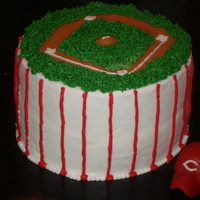 "Cincinnati Reds   6"" gift cake for a friend's birthday. Buttercream, hat and baseball diamond are fondant. Very fun cake! TFL"
