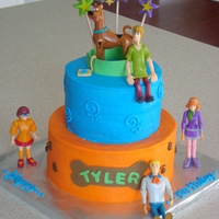 "Scooby Doo   8""/6"" chocolate cake for my nephew's 4th bday. fondant/gumpaste accents, toy characters. TFL"