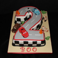 Number 2 Cars Cake Featuring Lightning Mcqueen, Sally, Mater and tipping tractors