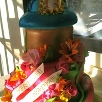 Tinker Bell Cake Tinker bell themed cake with gum paste flowers and disco dust.