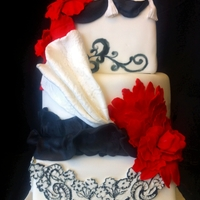 Red White And Black Wedding Cake Small square tiered wedding cake with gum paste flowers and fondant appliques
