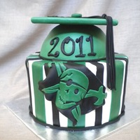 Graduation Cake   Features school colors and mascot