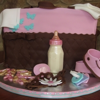 Diaper Bag Cake This was much tougher than I expected, but was pleased when it was finished. Almond cake with cherry icing. The bottle and diaper pins are...