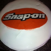 Cheesecake With Fondant Snap On Logo Cheesecake with fondant Snap-On logo