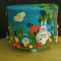 Miazaki Cake  This cake is based on our favorite Miyazaki movies. Chocolate cake with peanut butter icing and chocolate chip cookie layer. All the...