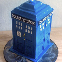 "Tardis Cake  What's better than cake?.....A cake that's bigger on the inside :) Tardis cake from the Dr Who TV series. I used 6, 6""..."