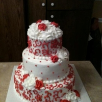 Red & White Scroll Work Wedding Cake The theme was red and white with hand piping details. All buttercream