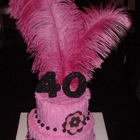 Hot Pink Feathers 40Th Birthday Glitter   This cake is buttercream with fondant accents and hot pink feather