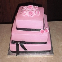 All Pink Wedding Roses And Ribbon buttercream with fondant roses and satin ribbon