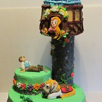 Rapunzel Birthday cake for my Granddaughter's 5th birthday. Larger cake is vanilla, and the two smaller cakes are banana and all have a...
