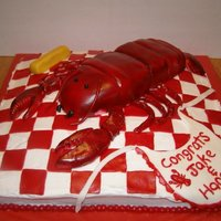 Lobstah Kake Table is made from Marble cake and topped with butter cream & MMF. Lobstah was made starting with football pan then sculpted and...