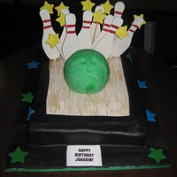 Bowling Birthday Cake  Last minute birthday cake for my 4 year old nephew. Fondant covered with gumpaste accents and rice krispie treat bowling ball. Thanks for...