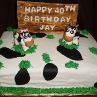 Cow Themed Birthday Cake Cow themed 2 layer french vanill cake, with fondant sign, lettering and cows. All is edible. First attempt at animals.