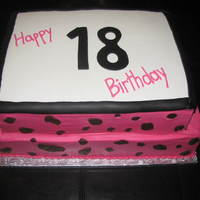 18Th Birthday Cheetah Print 18th birthday cake to match decor of party which was bright pink, black, and cheetah print.