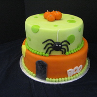 Halloween Birthday This was made for my friend's grandson's birthday. He had his party on Halloween and wanted a themed Halloween cake. Covered in...