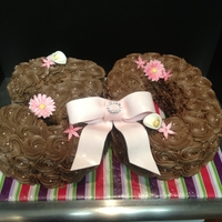 30Th Birthday Cake Pink cake, chocolate buttercream with piped rose design. Fondant/gumpaste flowers and bow. TFL