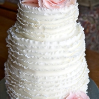 Peony Frilly Wedding Cake 3 tier wedding cake. 6, 8, 10 inch yellow cake IMBC fondant frill work and fondant peonies. TFL!