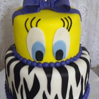 Tweety Two tiered cake, iced in buttercream, and covered in fondant. The bow was made with fondant and a little tylose mixed in. Thanks for...