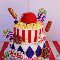 I Made This Cake For My Twin Daughters That Turned 6 Yrs Old They Had A Carnival Themed Birthday Party I Found Several Different Cakes Onl... I made this cake for my twin daughters that turned 6 yrs old. They had a carnival themed birthday party. I found several different cakes...