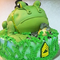 """ Happy Birthday Dad"" Hobbies Cake Birthday Frog with baby Commodo Dragon Cake"