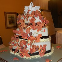 Fall Theme Wedding Cake This is my first wedding cake! carrot cake, velvet and marble. All decorations edible