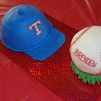 Texas Rangers Birthday Fondant Covered hat and ball. Boy the ball was a lot trickier than I thought it would be.