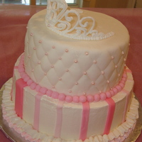 Princess Italian Meringue Buttercream and fondant with royal icing tiara