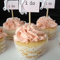 I Do Cupcakes   Client supplied photo and asked to replicated. Love how the lace turned out on the liners.