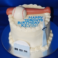 "Toronto Baseball Birthday  6"" Red Velvet cake with Cream Cheese Icing celebrating a birthday boy visiting Toronto and had enjoyed a Blue Jays Game. Featuring the..."