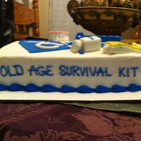 Old Age Survival Kit Buttercream w/ fondant decor