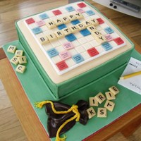 Scrabble Board Birthday Cake Birthday cake made for a friends son. The cake is vanilla sponge with rasberry jam and cream filling. Covered in fondant and everything is...