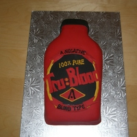 "True Blood Cake This is a cake I did for a friend who's a huge fan of the show ""True Blood"". It's red velvet cake inside and fondant on..."