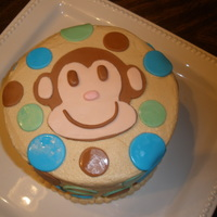 Whimical Monkey Birthday Cake 6 in chocolate w/peanut butter filling. Peanut butter BC and MMF accents