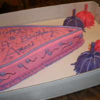 Pink/purple Birthday Cake WASC butter cream filling Pink/purple pennant with matching pom poms. Pom poms are mini bundt cakes, handles are fondant covered dowels....