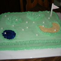 Golf Cake Cake for was my ladies charity golf tourney. Marble w/buttercream, water was piping gel, sand trap was crushed cookies, fondant golf balls...