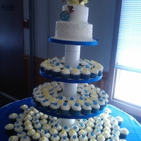 Blue Velvet Wedding Blue Velvet cake with cream cheese frosting. All the flowers were made with either gumpaste or royal icing.