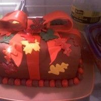 Fall Birthday Cake I tried a new bc recipe and it didnt crust too well, so my fondant wasnt holding on to the cake too well.....but the recipient loved it and...